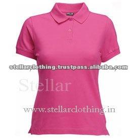 100% cotton Womens polo t-shirt - fuschia.jpg