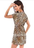 Женская туника для пляжа V-neck Fashion Leopard Beach Cover-up Women sexy Beach Dresses Sexy swimwear