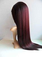 синтетические волосы парик фронта шнурка 22 дюйма цвет #99j мягкая yaki прямо
