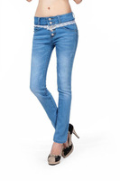 New Arrival Lace Breasted High Waist Women Jeans Plus Size Light Blue Slimming Pencil Jeans
