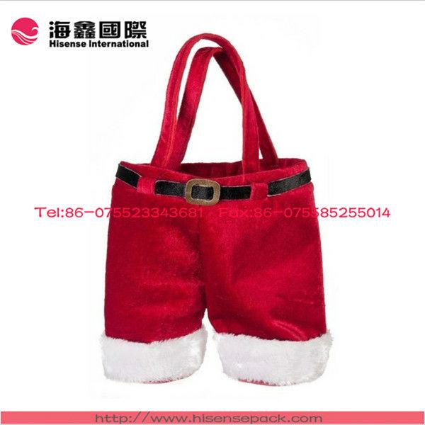 Christmas holiday santa pants double wine bottle tote bag