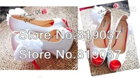 Low price NEWEST womens fashion sexy heels beautiful flower white dress wedding shoes size US(9-5.5)