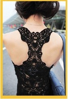 Женская футболка Mini order USD15, Hot! Factory price, 100% cotton sexy women's back hollow lace vest tops T shirt