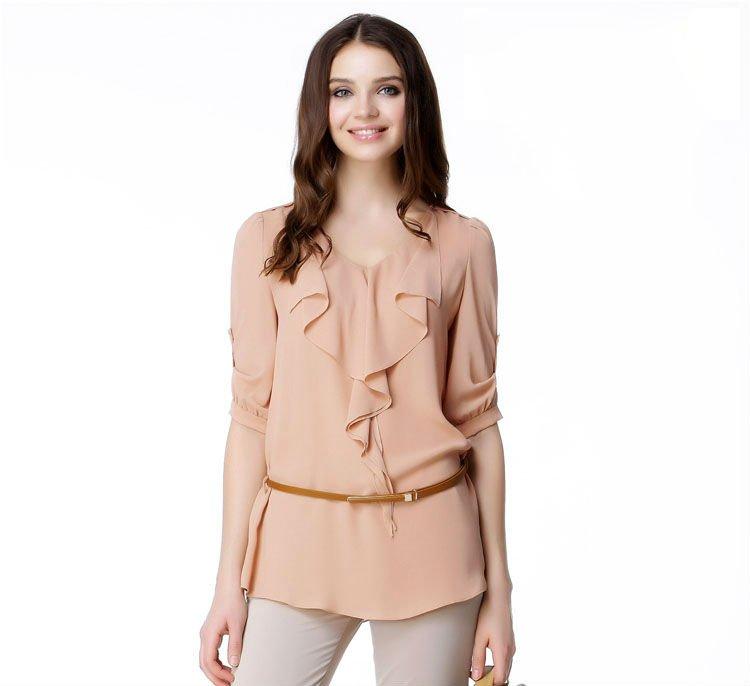 nuevo estilo de blusas volante frente hermoso blusas para mujer ...