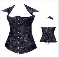 Корректирующий женский топ Sexy Black Brocade Pattern Overbust Corsets - 2792