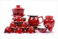 Free shipping!!! 11pcs/set  Red Glaze porcelain Tea set ,teapot,gaiwan.tea canister