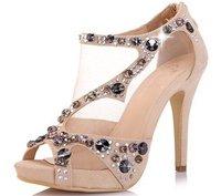новые обнажённого сандалии прокуроров hollowed из Рим водонепроницаемый Тайвань женский рыба рот обуви принцесса Кристалл на каблуках