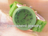 Наручные часы New Fashion geneva Lady brand Crystal Silicone Watch Jelly watch for women wedding quartz watch gift