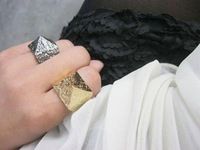 Free Shipping~~ Fashion Jewelry European Luxy Retro Style Punk Pyramid Finger Ring US Size 7 , R1-130