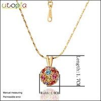 Цепочка с подвеской 18k gold plated Fashion Pendant Necklace With colorful rhinestone Mixed order #LN019