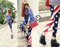 Женские носки и Колготки New Fashion Women American USA Flag Stripe Star Leggings Lady Summer Skinny Tights Cropped Jeans 5867