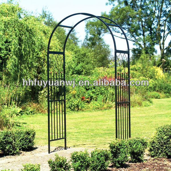 Wrought Iron Garden Arch Metal Fancy Curl Arbor for Your