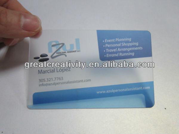 2 dimentional-code transparent plastic business cards