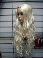 Парик Beautiful New long white curly hair women's health wig wigs
