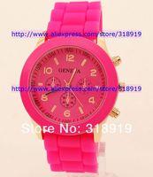 16 цветов теней розовое золото цветные стиль Женева смотреть резина конфеты желе мода унисекс силиконовые кварцевые часы 100pcs/lot