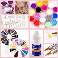 профессиональные ногтей искусство полный набор щетка ногтя искусства diy маникюр комплект 18 цветной акриловой пудры инструмент комплект na632