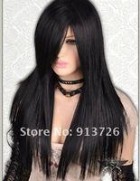 Black Gothic Lolita Long Straight Nature Silk Wig+ Free Hairnet  1 pcs