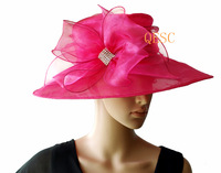Fashion crystal organza hat with organza loops and rhinestone, price, 4colours, 10pcs/lot