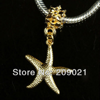 Бусины: 100pcs Gold Plated / Starfish Pendant European Charm Dangle Beads For Bracelet