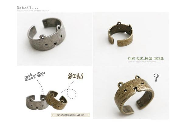 Promotion! Hot Sale! Free Shipping! Jewelry Wholesale,Teddy Bear Stylish Adjustable Ring, Opening Ring A134  82264