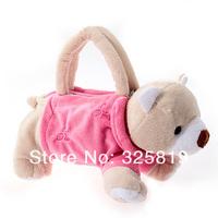 Сумка Funny Soft Plush Pet Dog Shaped with Clothes Mini Handbag Pencil Bag /Deep Pink with Off/white