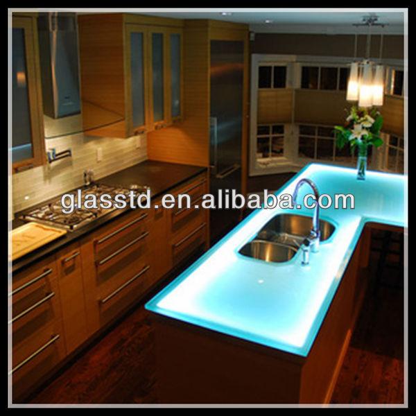 Aqua glass kitchen table top for kitchens buy glass - Encimeras de cocina de cristal ...