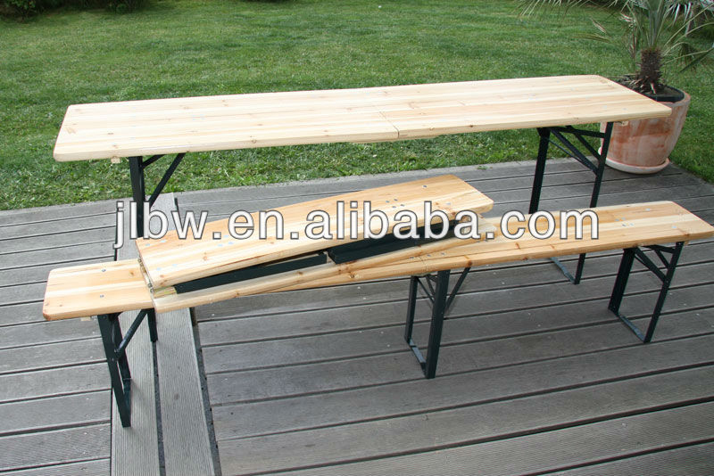 Pine/fir Wood Outdoor/indoor Dining Folding Furniture Beer Table Set ...