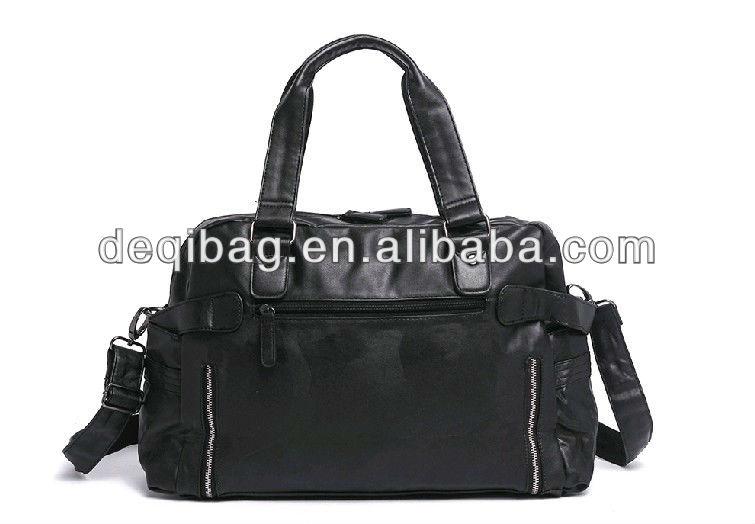 the latest fashion customized logo black PU travel bag for men