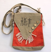 Сумка через плечо Ethnic characteristic Messenger bag New design light handbag canvas messenger Bag 2012.B25-2-003 Woman's Canvas messenger bag