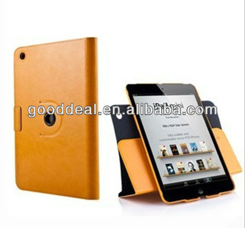 High Quality 360 degree rotation leather case for ipad mini