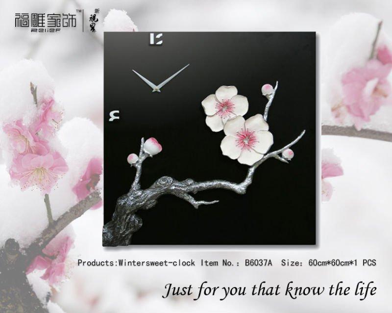 Modern decoration plum blossom clock wall decoration