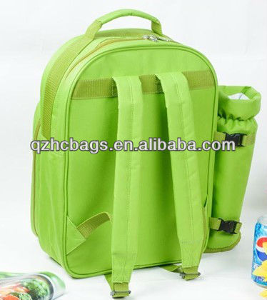 Folding bottle cooler bag for picnic with 2 persons' tableware