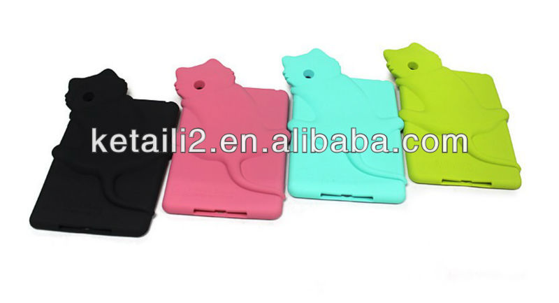 For silicone mini ipad case with cat shape design