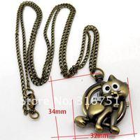 1 Bronze Tone Cat Necklace Chain Quartz Pocket Watch
