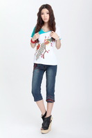 [dan]2013 Ethnic wind Women's clothing bump a color v-neck embroidered cultivate one's morality short sleeve T-shirt