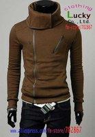 Мужская ветровка Men's coat 2012 Hot Mens fashion Slim turtleneck Double zipper Thick cardigan Cashmere Sexy Jacket MJ31 M L XL