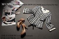 free shipping! 2012 autumn new style,Elegant brand plaid women jacket , blazer women with delicate beading