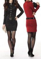 бесплатный офис пояса формальной элегантная дама гофрированной тонкий карманный мини-платье с длинным рукавом e0887