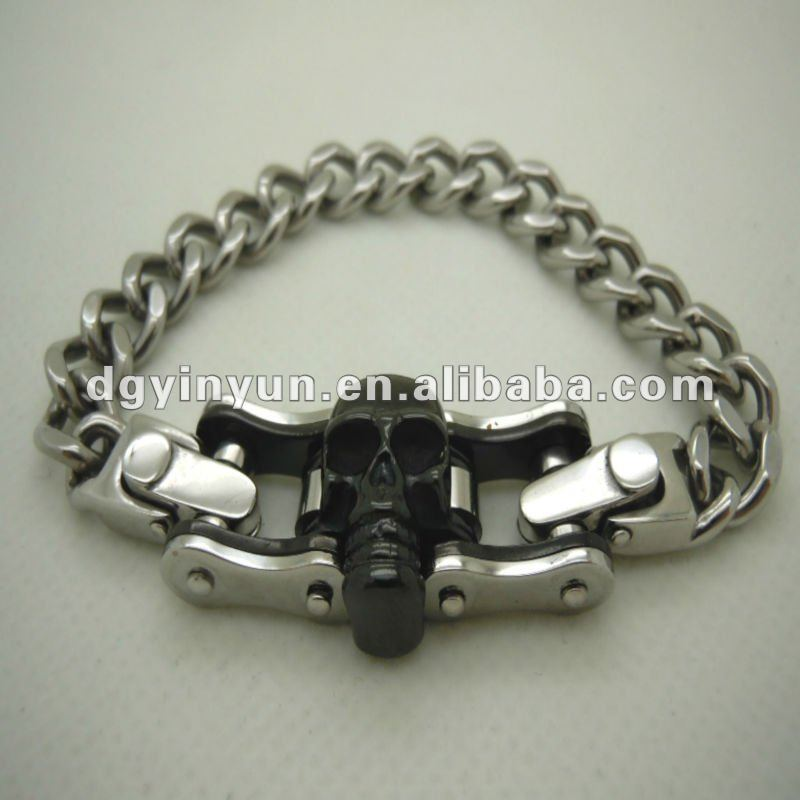 Wholesale antique fashion Stainless Steel Skull motorcycle/biker chain Bracelet,engraved cool bracelets