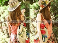 Сумка через плечо Shanghaimagicbox Women Fashion Sweet Sequins Flower Bohemian Beach Straw Tote Shoulder Bag WBG811