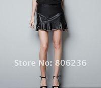 New Women's Super Cool Ruffles Leisure PU Leather Rivets Skirts   B1178