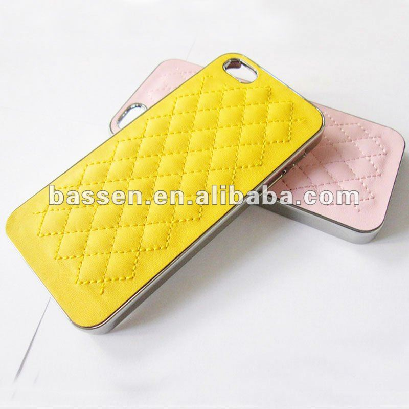 Leather Coated Chrome Hard Case for iphone 5 cover