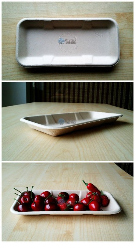 high quality bagasse paper disposable biodegradable meat tray