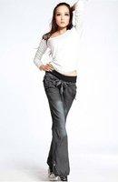 Женские брюки women casual loose denim long pants ladies solid wide-leg trousers jeans lanterns pants