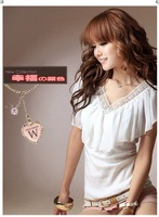 Женская футболка Ladies lace v-neck the wild flounced blouse short sleeve T-shirt chiffon shirt