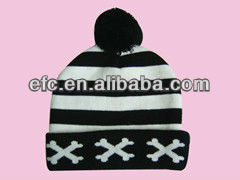 Eye Design Knit beanie Hats with top ball