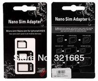 Адаптер для SIM-карты Nano Sim Adapters & Micro Sim & Stander Sim Card For iphone 5 / 4S/ 4
