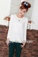 Free shipping wholesale 100%cotton long sleeve maternity clothing maternity basic shirt o-neck maternity pullovers