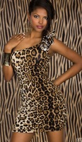 Женское платье Leopard* one shoulder *drape sexy dress mini club dress fashion design size 2557 New style