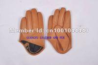 Женские перчатки из кожи GUANGYU 006/1 GY006 half  palm yellow leather gloves